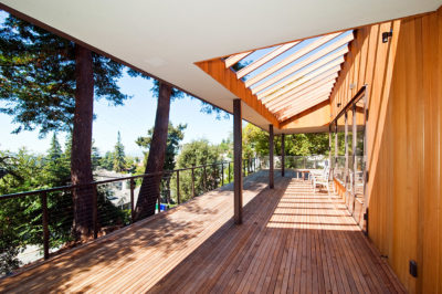 Exterior deck and wood siding, restored and wood stained by Craftsman Painters, Modern Home, Piedmont California