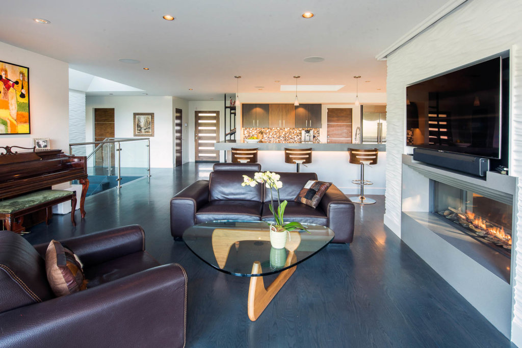 Living Room in award-winning Oakland modern home remodel